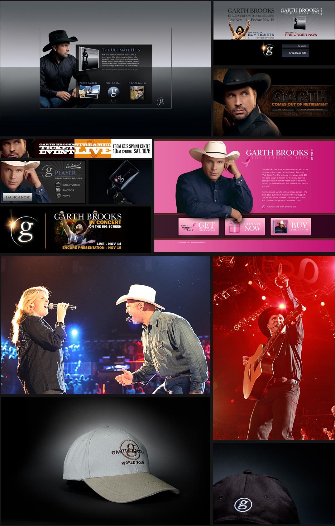 Various projects created for Garth Brooks