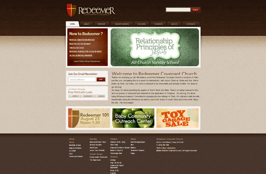 Homepage Screenshot of Redeemer