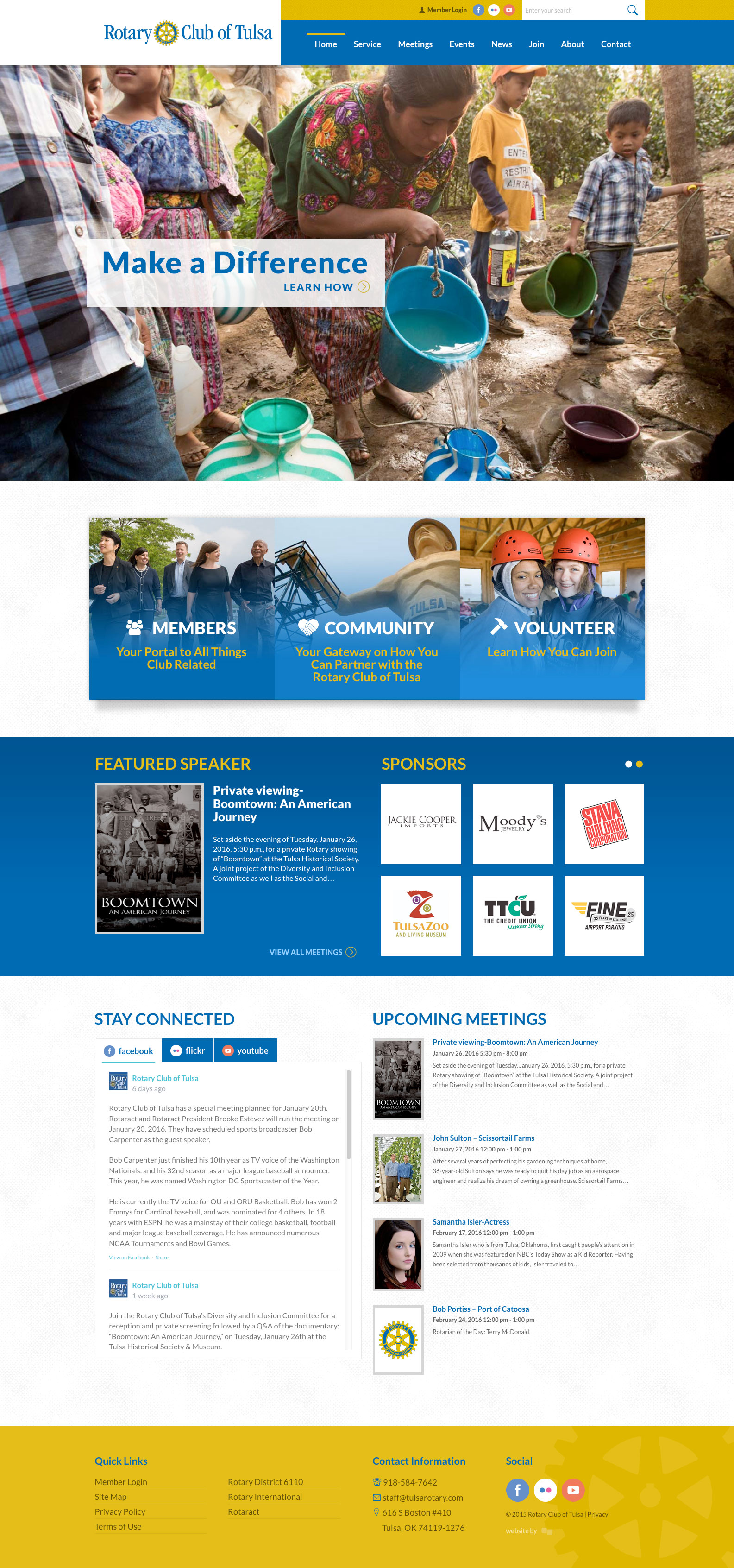 Homepage Screenshot of Rotary Club of Tulsa by Creative State