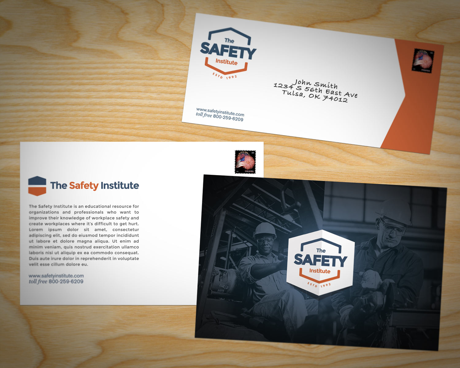 The Safety Institute Postcard and Envelope Design