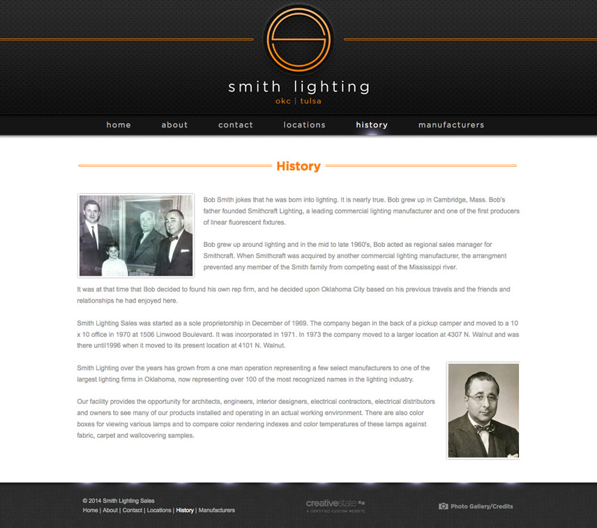 Inner Page Screenshot for Smith Lighting