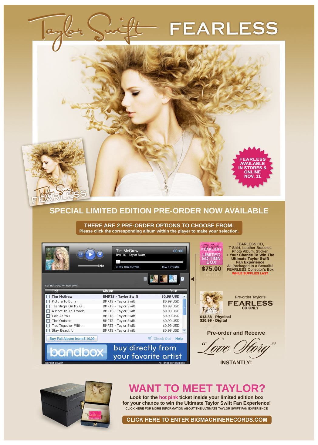 Taylor Swift Pre-Order Landing Page